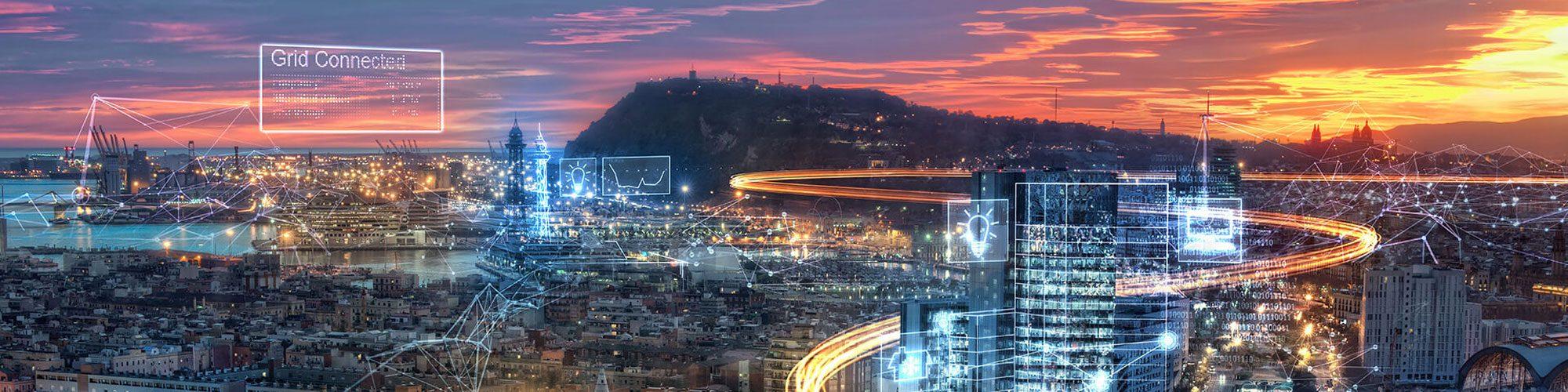 Digital graphics running through a city skyline.
